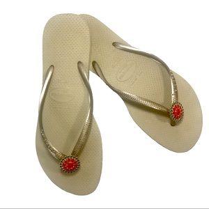 HAVAIANAS SLIM Gold/Tan Flip Flop Sandals US 11/12